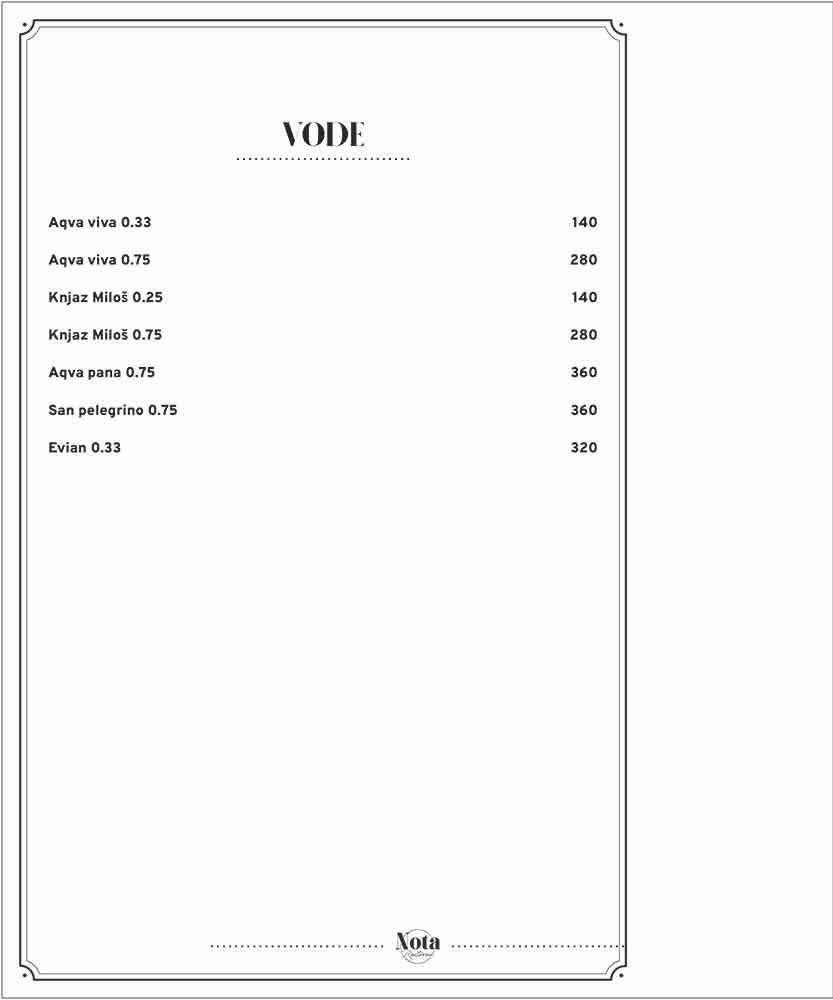 Nota menu