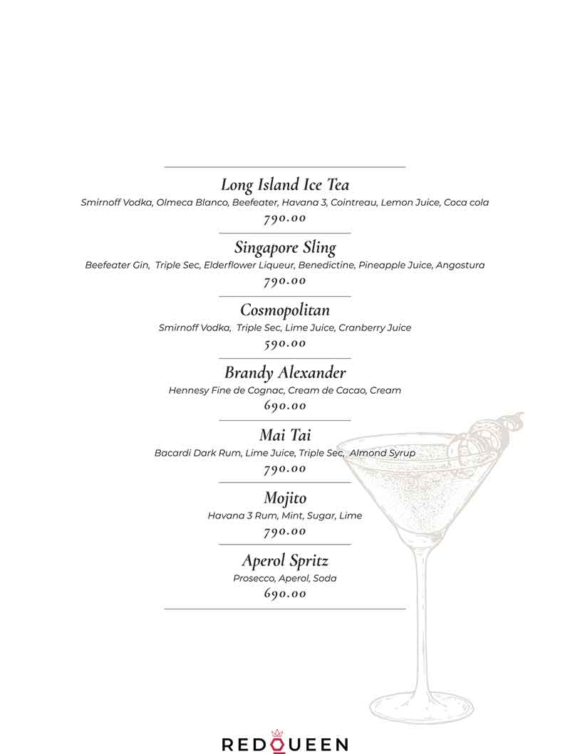Red Queen Wine & Gastro bar menu