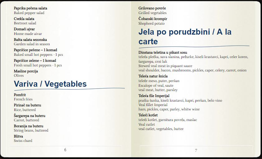 Restoran Devetka menu