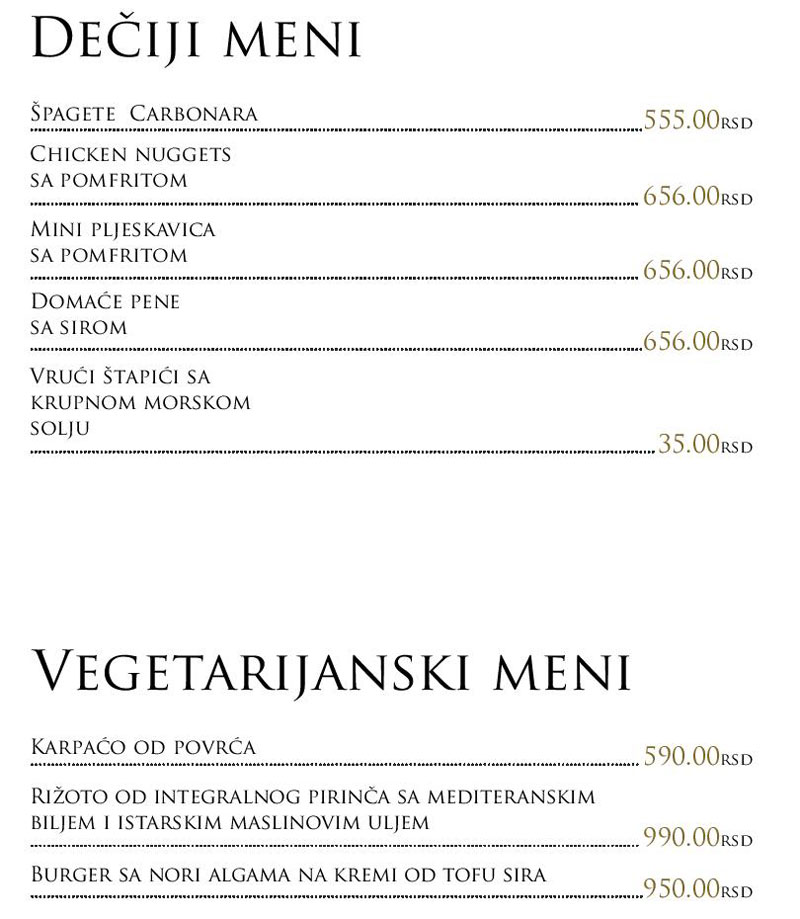 Restoran Jerry menu