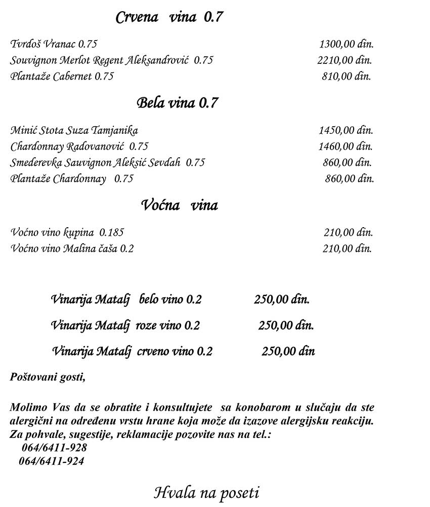 Restoran So & Biber menu